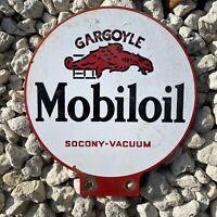 VINTAGE MOBIL OIL LUBESTER PORCELAIN METAL SIGN GARGOYLE GAS STATION PETROLIANA