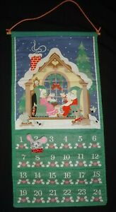 VTG 1987 Avon Countdown To Christmas Advent Calendar W/ Replica Handmade Mouse