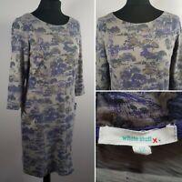 WHITE STUFF Toile De Jouy Dress Sz 12 Grey Cotton Skater Country House Casual