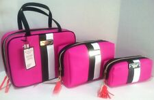 3 Victoria's Secret Hanging Travel Bag And Cosmetic Bags Magenta  Set, New Lot