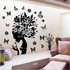 Pretty Butterfly Flower Fairy Girl PVC Wall Sticker Home Decor Decals Elegant