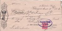 The General Electric Co Limited Waterloo St.Glasgow 1906 Stamp Receipt Ref 40796