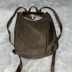 Longchamp Le Pliage Mini Backpack Purse Brown Nylon With Brown Leather Flap Zip