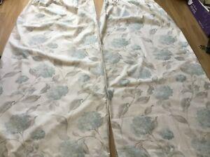 Laura Ashley duck egg blue hydrangea curtains 64 x 72 inchres