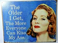 """""""The Older I Get"""" Tin Sign Funny Vintage Retro Style 12.5 x 16 Inch Woman Blue"""