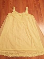 Vintage Double Chiffon Yellow Nightgown~VANITY FAIR NYLON TRICOT Lace S Nighty