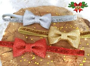 Christmas Xmas Baby Girl Headband Hairband Red Silver Gold Glitter Bow