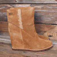 UGG Australia Womens Jade Chestnut Suede Sheepskin Wedge Boots US 11 UK 9.5 42