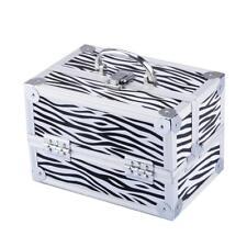 Zebra 9x6x6 Aluminum Makeup Train Case Jewelry Box Cosmetic Organizer 966