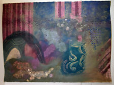"""30"""" Vintage Abstract Painting on Paper Purple Green Clouds Jeannine SHANER"""
