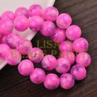 Hot 20pcs 12mm Round Charms Loose Spacer Glass Beads Findings Deep Pink