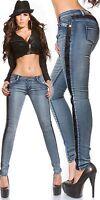 Damen  Koucla Jeanshose Skinny Jeans Hose mit Hakelspitze