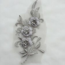 Fashion Flower Lace Stick Bridal Applique Pearl Wedding Dress Decor Embroidery