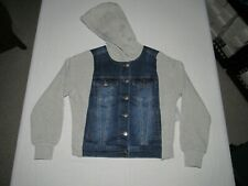 JOE'S JEANS JUNIOR'S BLUE GRAY BUTTON UP DENIM JEAN HOODED JACKET SIZE M NWT