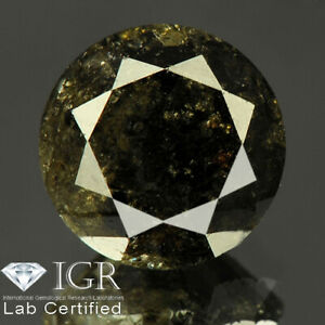 2.53 cts. CERTIFIED Round Brilliant Cut Black Green Loose Natural Diamond 24618