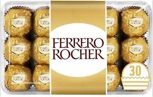 Ferrero Rocher Chocolate Hazelnut and Milk Chocolate Pralines, 30pcs