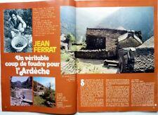 JEAN FERRAT et l'Ardèche => coupure de presse rare 3 pages 1973 / CLIPPING