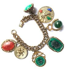 HUGE RARE SIGNED CORO CHUNKY GOLD PLATED CHARM BRACELET
