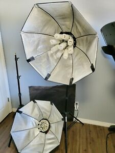 Interfit Bundle - 2 INT216 Lights, 2 Interfit Silver Octaboxs, 2 Core 751 Stands