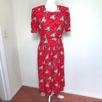 Karin Stevens Romantic Vintage Red Hearts Flowers Midi Dress Sz 12P