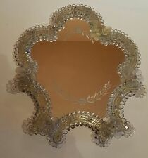 ANTIQUE ITALIAN VENETIAN GLASS VANITY MIRROR art glass table top easel flowers
