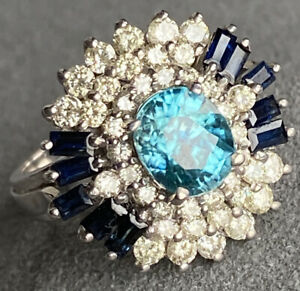 $3800 14K White Gold Diamond Blue Sapphire Blue Zircon Ballerina Ring Certified