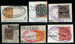 RHODESIA 1890 's EARLY MINING CANCELS USED ON PIECE TO £1.NICE LOT.  A832