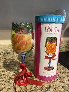 "LOLITA  Love My Wine ""Best Present Ever"" Hand Painted Wine Glass 15oz"