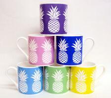 Pineapple Crush Mugs Set 6 Bone China Multicolour Pineapples Designer Made UK