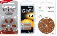Rayovac 312, Duracell 312, Siemens 312 Pilas Audífono paquete de muestra