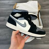 NIKE AIR JORDAN 1 MID SE SATIN GREY TOE TRAINERS SHOES SIZE UK7.5 US8.5 EUR42