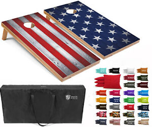 Set of 4'x2' American Flag Combo Cornhole Boards w/ 8 Cornhole Bags