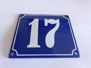 Old French Blue Enamel Porcelain Metal House Door Number Street Sign / Plate #17