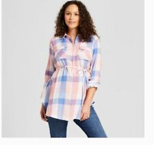 Isabel Maternity & Ingrid Women's S Cotton Plaid Popover Tunic Top Pink Blue t8