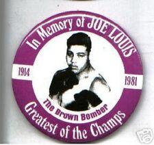 "Vintage  BOXING pin Joe LOUIS huge MEMORY pinback 1914-1981 ""Brown Bomber"""