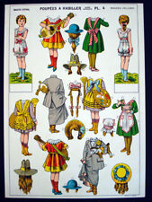Imagerie d'Epinal Pellerin Poupees a Habiller, Uncut Paper Dolls Plate 4 Inv1388