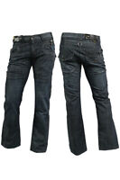 Mens Enzo Jeans Pants Classic Fit Straight Designer Dark Blue 28S 28R