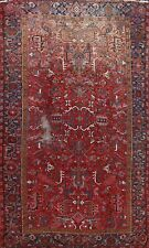 Antique Geometric Heriz Hand-knotted Area Rug Traditional Oriental Carpet 8'x11'