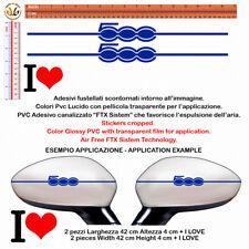 adesivi prespaziati specchietti pvc blu sticker I LOVE fiat 500 Wing Mirror 4 pz