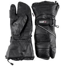 Snowmobile Gloves LEATHER Adult Ski Winter 3 FINGER Black Mittens Glove Snow