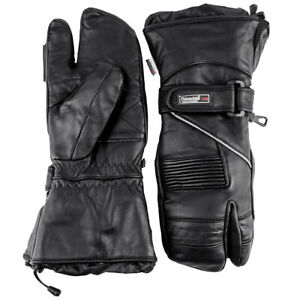 Snowmobile Gloves LEATHER Adult Ski Winter 3 FINGER Black Mittens Glove Snow
