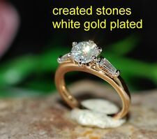 1ct round DIAM0ND 2tone 3stone ring size K 5.5