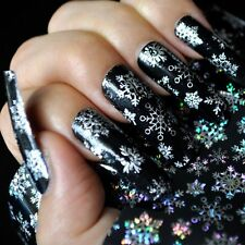 Beauty Xmas Nail Art Stickers Transfer Foils Snowflake Holographic Decal Tips UK