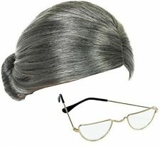 """Grey Granny Wig and Half-Moon Glasses Mrs Claus Fancy Dress Accessories """"Free"""