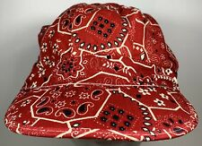 Red Paisley Cap Bandana Train Flat Hat Fitted Railroad Hippie Homemade Style