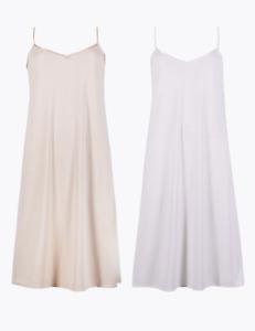 M&S Marks Spencer 2 Pack Full Slips/Petticoat Microfibre Satin Trim White/Nude