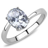 3433 oval engagement simulated diamond solitaire womens ring stainless steel