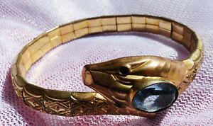 Armreif, offen, Schlange mit Stein, Gold???, vergoldet???