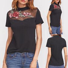 Damen Sommer Freizeit Schwarz Stickerei Kurzarm Baumwolle Bluse T-shirts