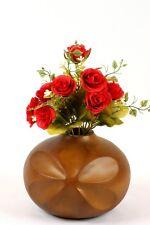 "Wooden Decorative Vase 8"" Mango Wood Teardrop Vase hand carved with flower motif"